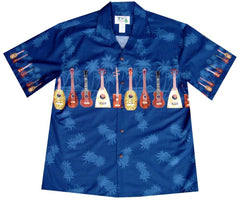 KY's Blue with Ukulele Boys Aloha Shirt