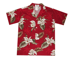 Ky's Red Boys Button Down Hawaiian Shirt with White Orchids