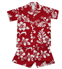 Ky's Hawaiian Red with White Hibiscus Boys Cabana Set