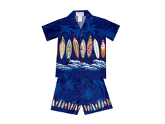 KY's Navy Blue Palm Waves and Surfboards Boys Cabana Set