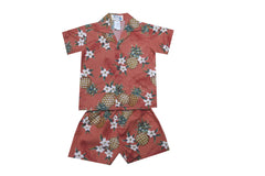 KY's Red with Pineapple and White Flower Boys Hawaiian Cabana Set