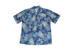 KY's Mens Blue Abtract Pineapple Button Down Hawaiian Shirt