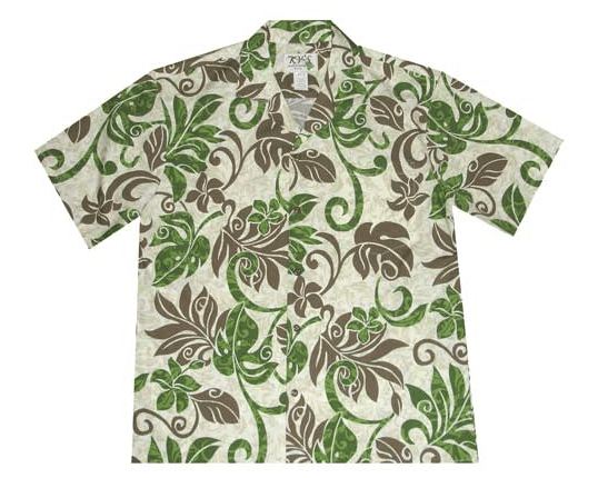 KY's Mens Button Down Hawaiian Shirt with Green and Brown Hawaiian Leaves - Leilanis Attic