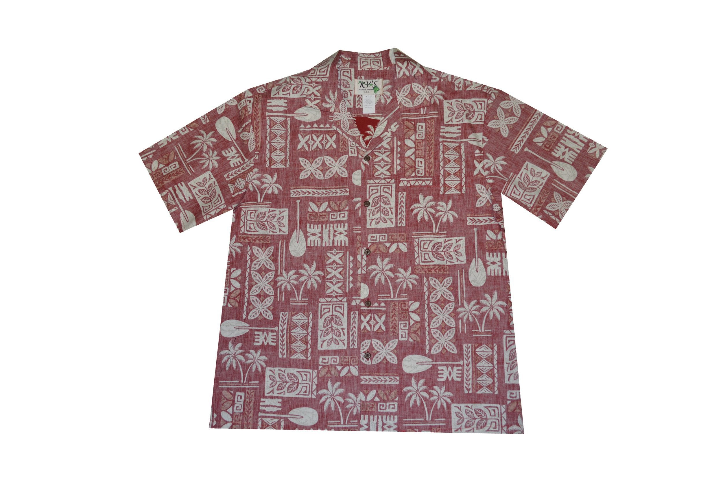 KY's Mens Button Down Red Hawaiian Tapa Pattern Shirt - Leilanis Attic
