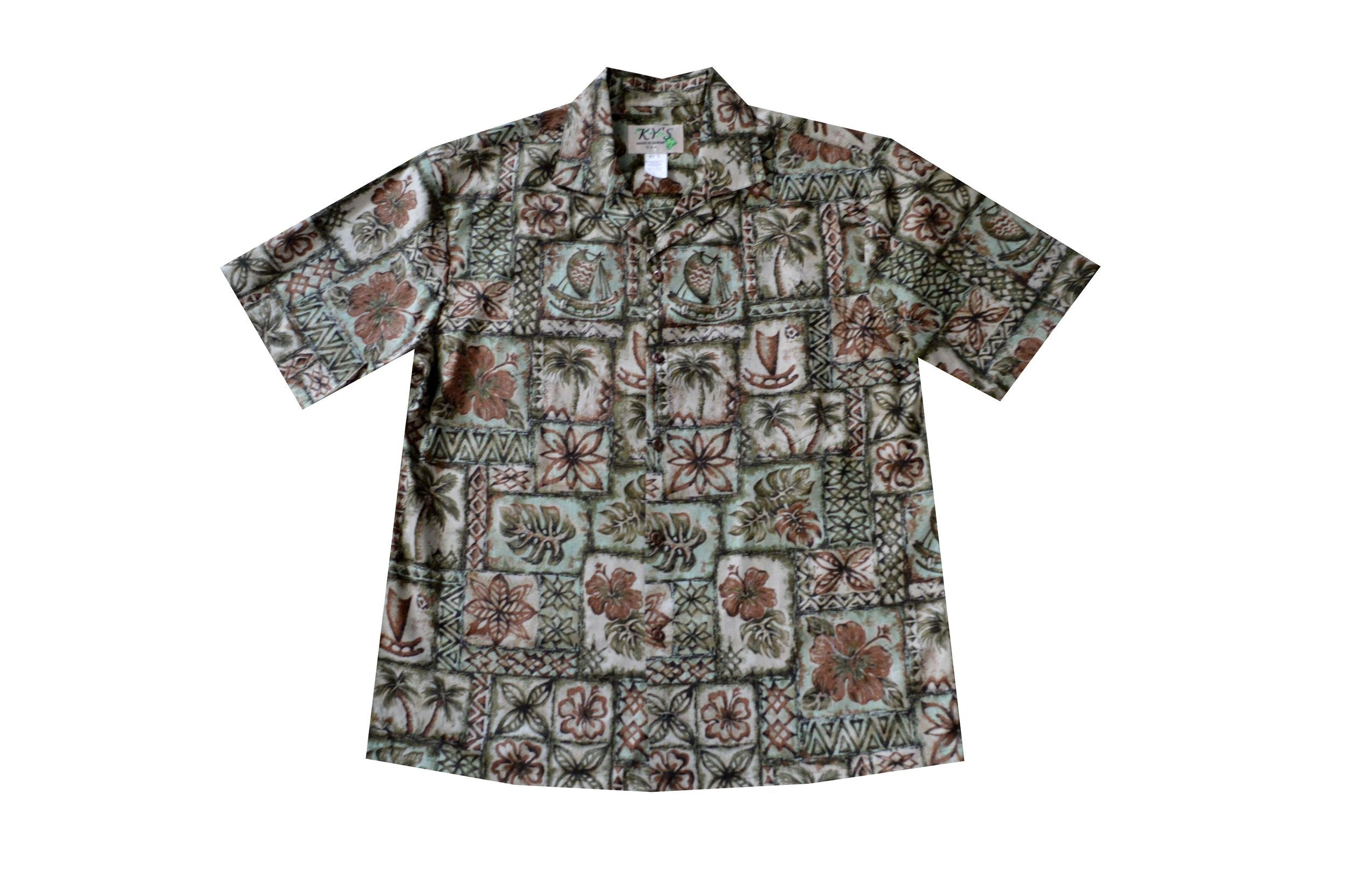 KY's Mens Green Button Down Hawaiian Shirt with Petroglyph Flowers - Leilanis Attic