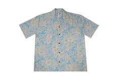 KY's Mens Hibiscus and Plumeria Blue Button Down Hawaiian Shirt