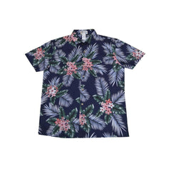KY's Mens Plumeria Navy Blue Slim Fit Button Down Hawaiian Shirt