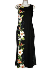 Ky's 100% Cotton Black Long Tank Womens Aloha Dress with White Hibiscius