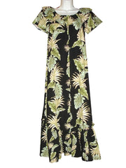Ky's Black with Monstera Ruffle Neck Long 100% Cotton Muu Muu
