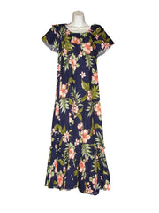 Ky's Navy Blue with Coral Hibiscus Ruffle Neck Long 100% Cotton Muu Muu