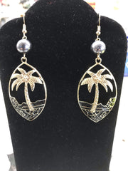Palm Tree Earrings with Pearl