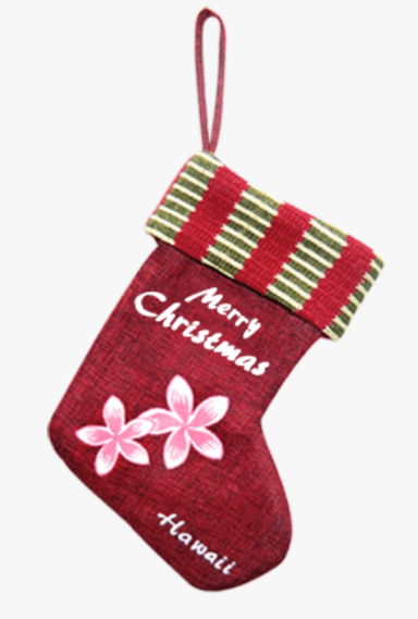 "Small Christmas Stocking, ""Merry Christmas Plumeria"" - Leilanis Attic"