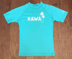 Local Motion Short Sleeve Turquoise Rash Guard