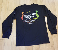 "Local Motion ""Aloha Supply"" Mens Black Longsleeve T-Shirt"
