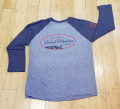 "Local Motion ""Backpacker"" Mens Navy Blue Baseball T-Shirt, 2XL"