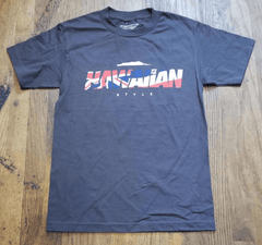 "Hawaiian Style ""Flagwaiian"" Mens Dark Grey T-Shirt"