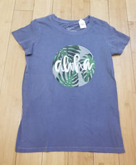 "Local Motion ""Aloha Monstera"" Denim Blue Jrs Vintage Tee"