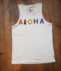 "Local Motion ""Aloha Twerk"" Mens Cream Tank Top"