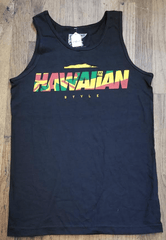 "Hawaiian Style ""Flagwaiian"" Mens Black Tank Top"