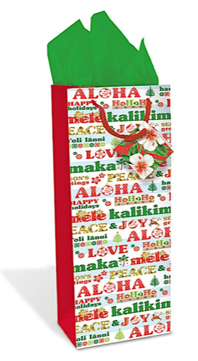 "Wine Gift Bag ""Aloha Season's Greetings"" - Leilanis Attic"