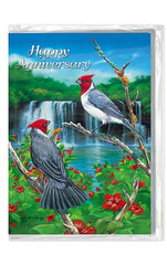 """Hibiscus Cardinals"" Anniversary Greeting Card"