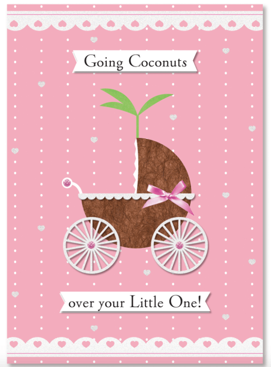 "It's a Girl Greeting Card ""Going Coconuts"" - Leilanis Attic"