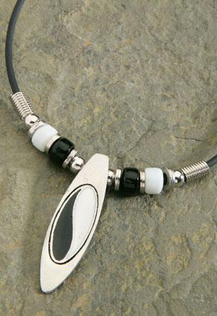 Pewter Enamel Ying Yang Surfboard Rubber Cord Necklace - Leilanis Attic