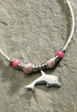 Pewter Flat Dolphin Hemp Cord Necklace - Leilanis Attic