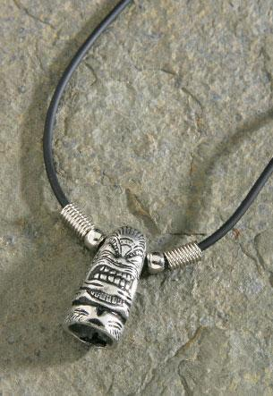 Pewter Tiki Rubber Cord Necklace - Leilanis Attic
