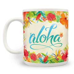 """Aloha Floral"" 14oz Coffee Mug - Leilanis Attic"