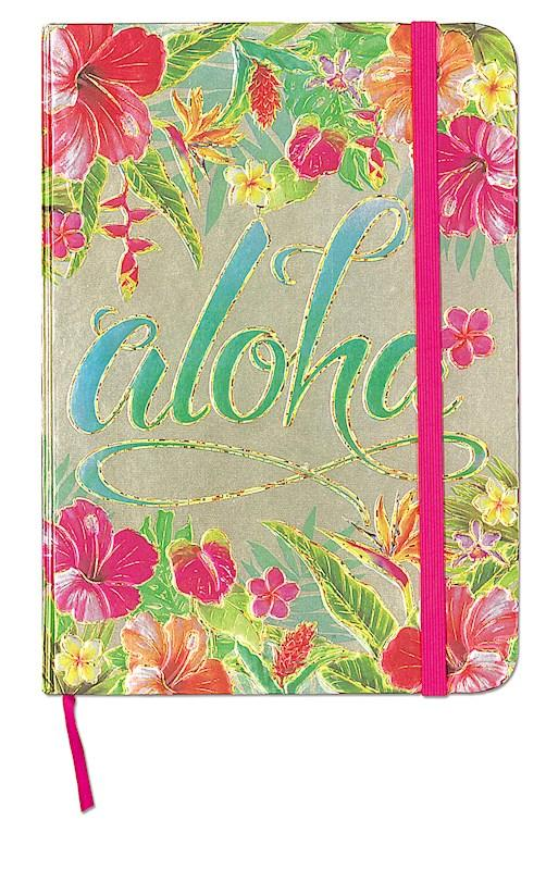 """Aloha Floral"" Foil Notebook with Elastic Band - Leilanis Attic"