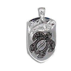 Engraved Sterling Silver Black CZ Hawaiian Honu with Shield Shaped Pendant