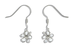 Sterling Silver and White Turquoise Hibiscus Earrings