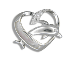 Sterling Silver Heart and Dolphin Pendant