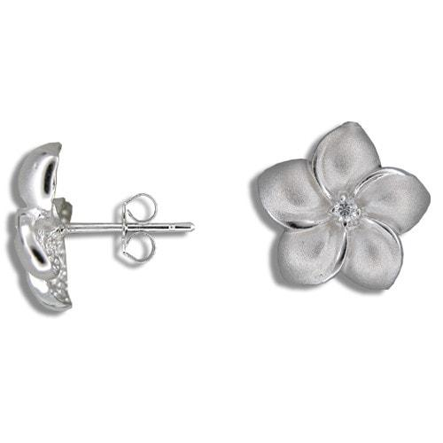 Sterling Silver Plumeria Earrings with CZ Center - Leilanis Attic