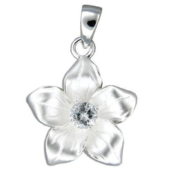 Sterling Silver Plumeria with CZ Pendant, 5/8""