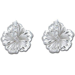 Sterling Silver 12MM Hibiscus with Clear CZ Earrings