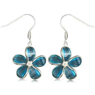 Sterling Silver 15MM Hawaiian Plumeria with Semi-Precious Blue Topaz Fish Wire Earrings - Leilanis Attic
