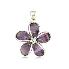 Sterling Silver 24MM Hawaiian Plumeria with Semi-Precious Purple Amethyst Pendant