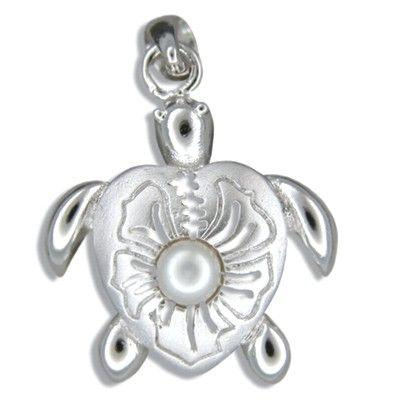 Sterling Silver Eastern Box Turtle with White Freshwater Pearl Pendant - Leilanis Attic
