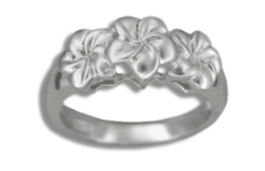 Kahiko Collection Sterling Silver Three Plumeria Ring Rhodium