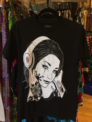 Black and White Filipina Headphones Men's Black T-Shirt, Small