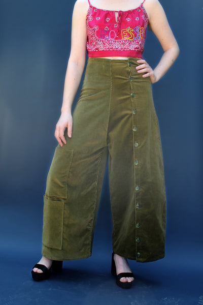Olive Cord Button Pant