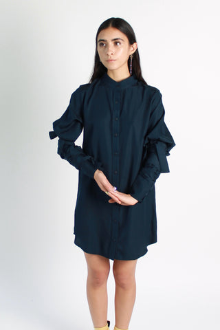 Tied-up Bishop Sleeve Blouse Dress