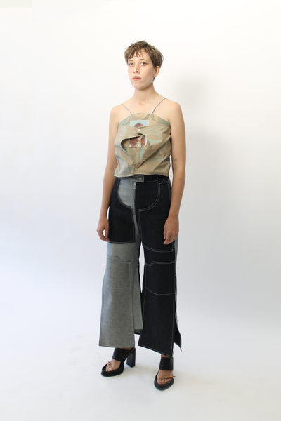 Patched & Pocketed Denim Pants