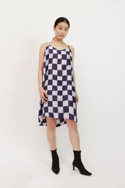 Checkerboard Silk Slip