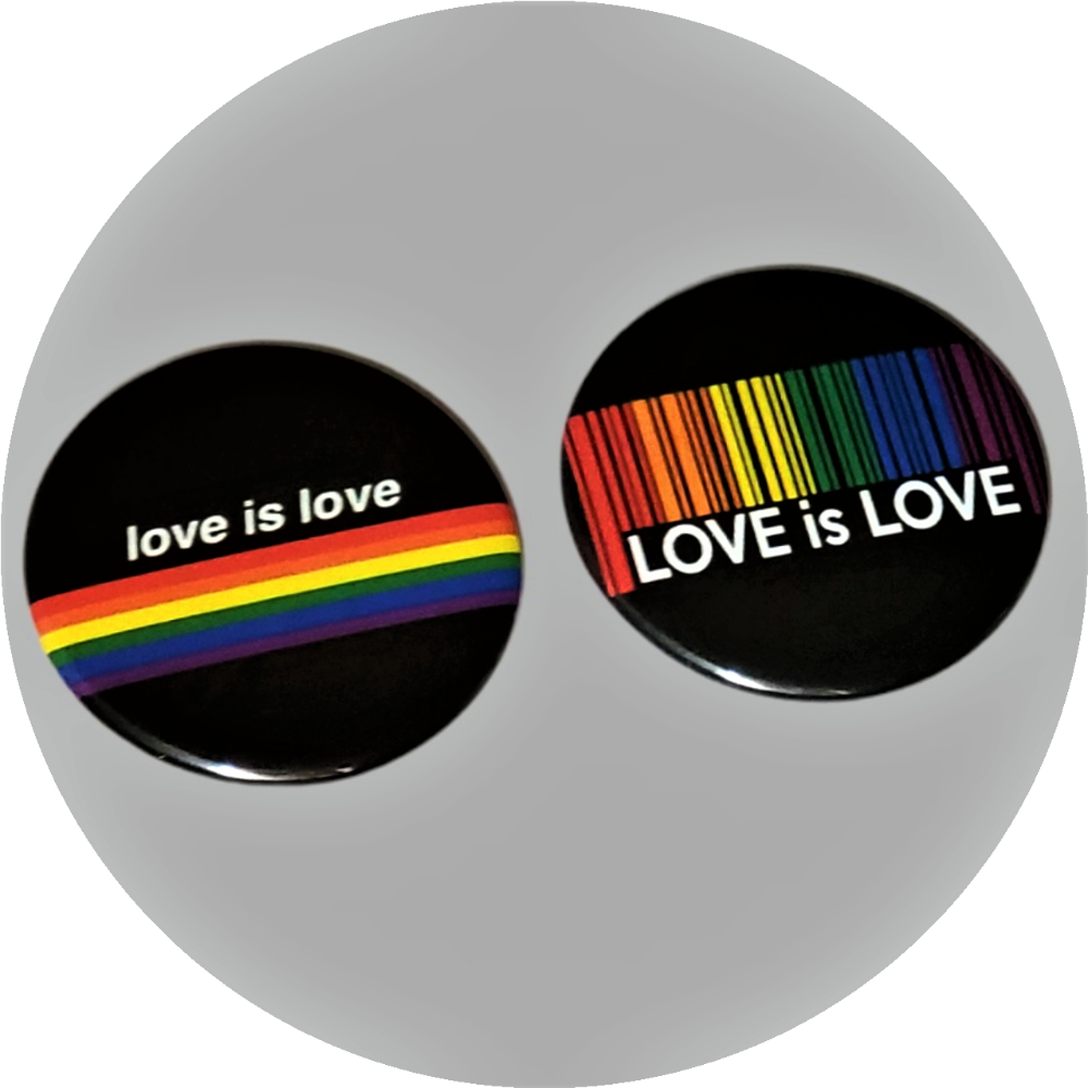 "Love Is Love pride flag colors with barcode handcrafted 2PC 2.25"" round button pin set"