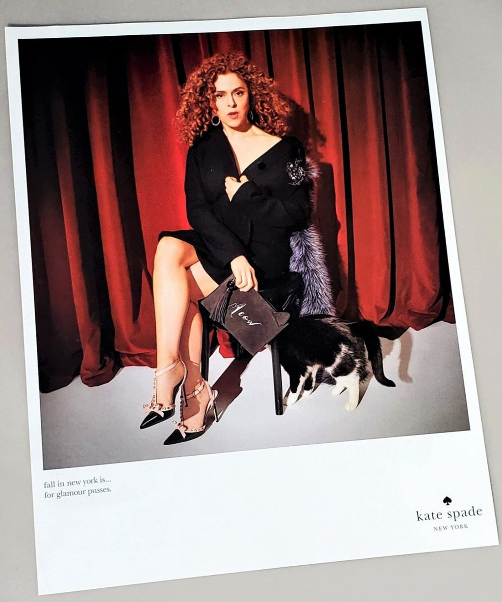 Bernadette Peters for Kate Spade photograph advertisement page featured in September 2016 Vogue magazine