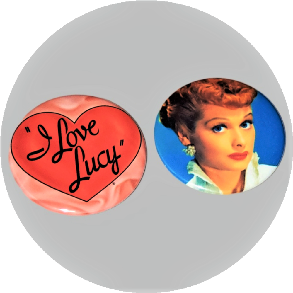 "I Love Lucy Heart logo handcrafted 2PC 2.25"" round button set"