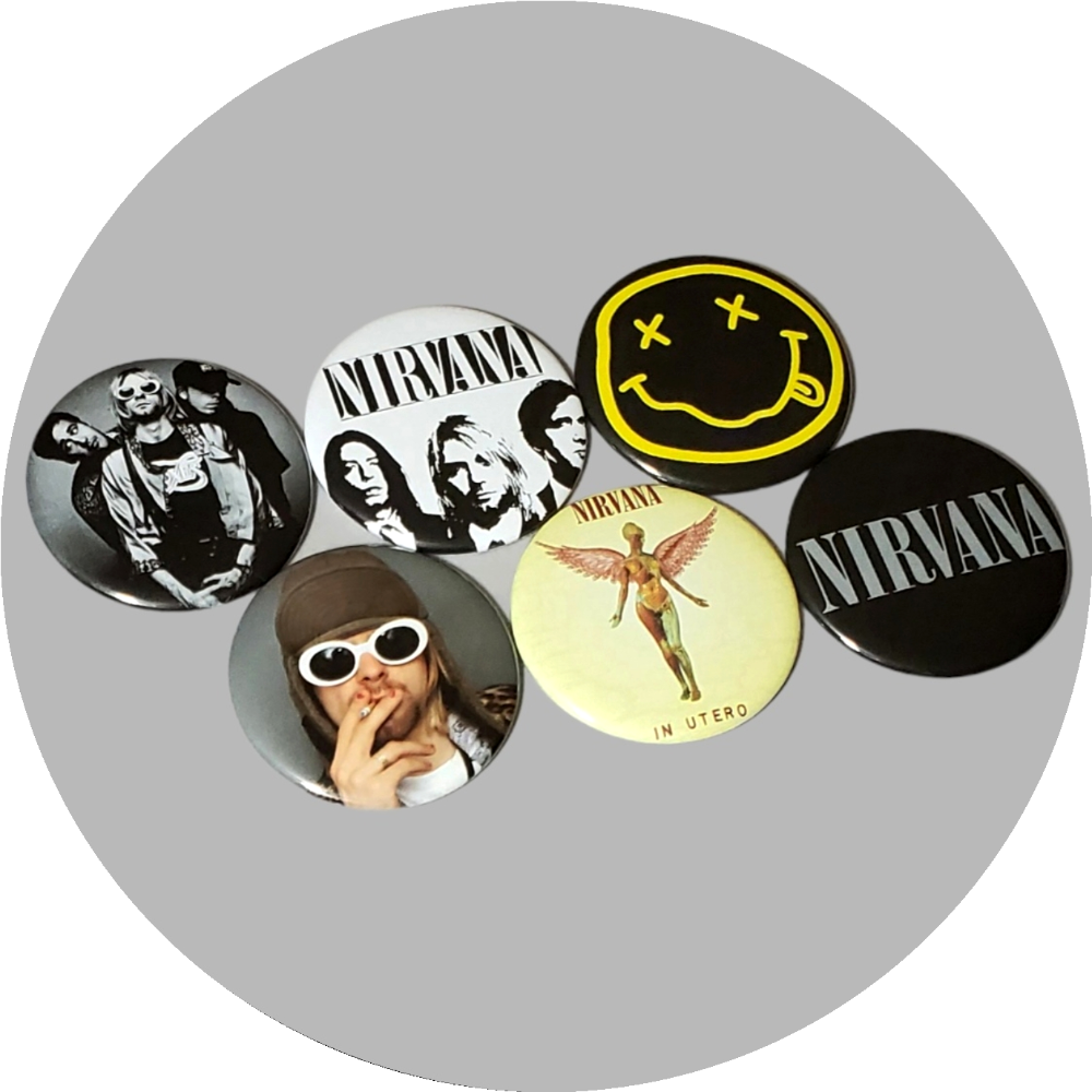 "Nirvana Kurt Cobain handcrafted 6PC 2.25"" round button pin collection"